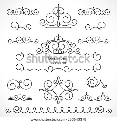 vintage decorative elements in calligraphic style. various frame, patterns to decorate your design works - stock vector