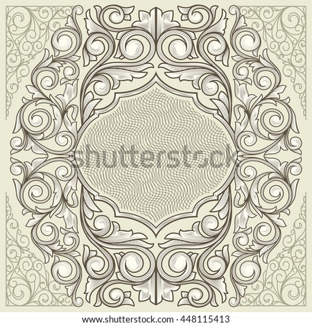 Vintage decorative floral ornate blank