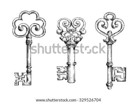 Vintage decorative keys with ornamental bows, adorned by swirls and forged elements. Sketch style - stock vector