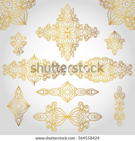 Vintage decorative ornament elements set,pattern,background.Vector Orient,East,Islam,Arabic,Indian,motifs.Ethnic texture,symmetry lace, fabric,paisley.Wedding,holiday card decor.Gold Illustration - stock vector