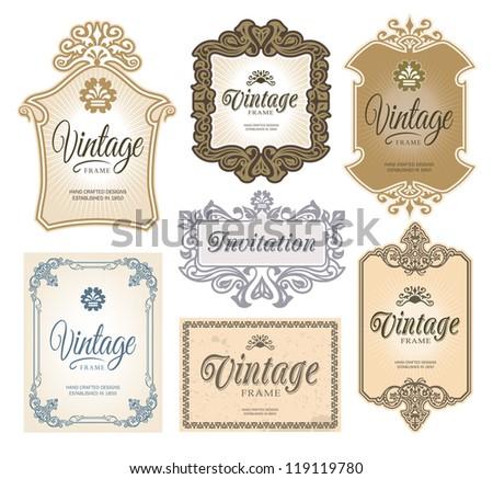 Vintage Decorative Ornate Labels - stock vector