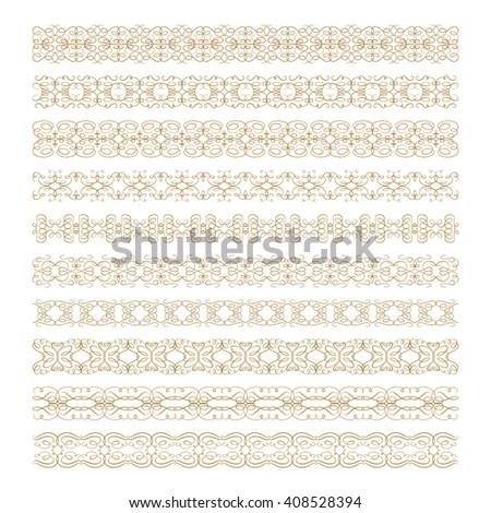 Vintage decorative pattern borders vector set for your design - stock vector