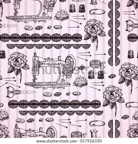 Vintage decorative seamless  with  accessories for needlework. Hand drawing. Seamless for fabric design, gift wrapping paper and printing and web projects. - stock vector