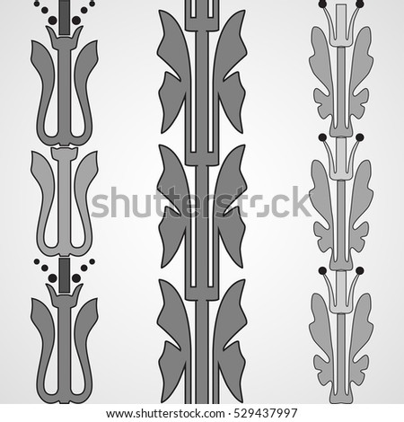 Vintage decorative set monochrome floral pattern seamless vertical border vector illustration isolated on white background