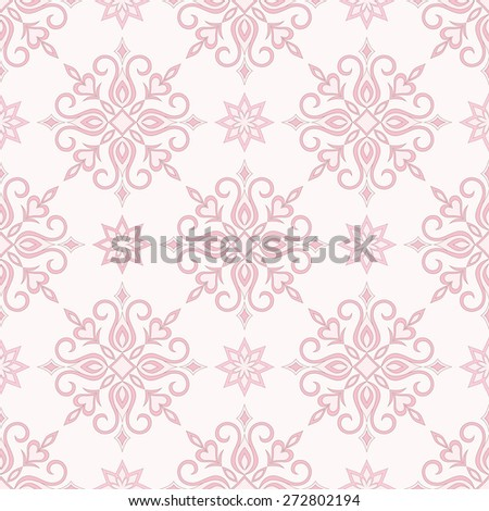Vintage decorative vector seamless texture in Victorian style. Element for design. Ornamental backdrop. Ornate floral decor for wallpaper. Traditional decor on Pink background - stock vector
