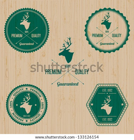 Vintage Deer Badge set | Editable EPS vector illustration - stock vector