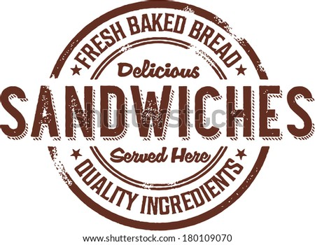 Vintage Deli Sandwiches Rubber Stamp Sign - stock vector