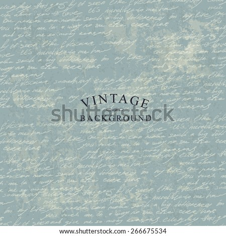 Vintage Delicate Background Template for Cover Designs. With Grunge Textured Background. - stock vector