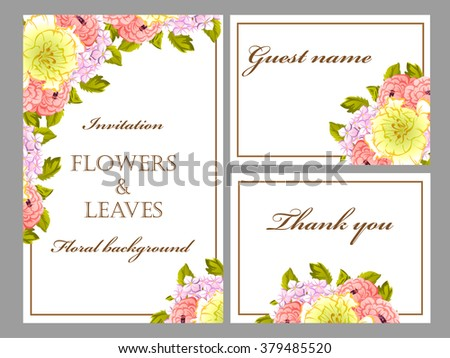 Vintage delicate invitation with flowers for wedding, marriage, bridal, birthday, Valentine's day.
