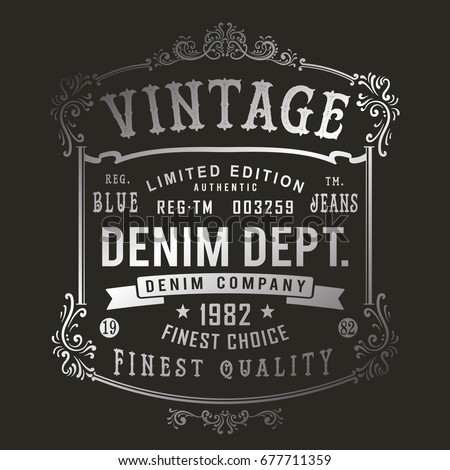 Vintage denim print for t shirt or apparel retro artwork in black and white