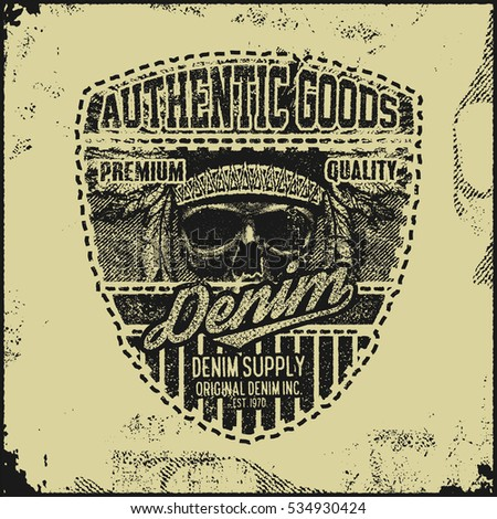 Vintage Denim typography, grunge t-shirt graphics, Artwork apparel stamp, Wear tee print design, goods emblem, vector