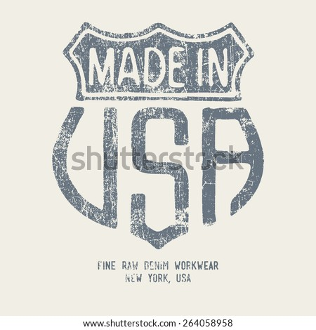Vintage Denim Typography, t-shirt graphics, vector - stock vector