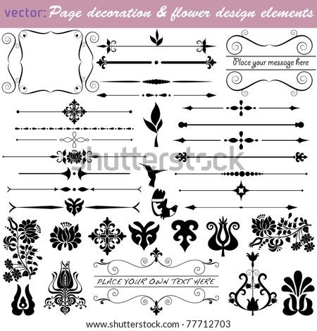 Vintage design and border elements. Calligraphic  bits and pieces for your layout  VECTOR {Set No.4} 