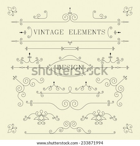 Vintage Design, Borders, Retro Elements, Frame, Vector - stock vector