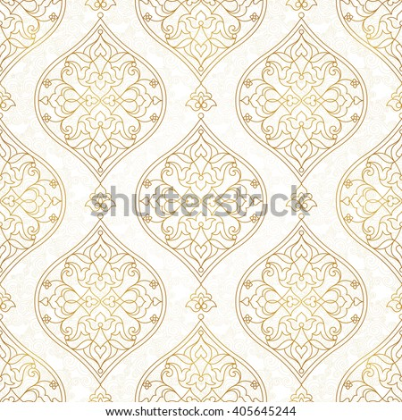 Vintage design element in Eastern style. Vector seamless pattern with floral ornament.  Ornamental lace tracery. Golden ornate illustration for wallpaper. Traditional arabic decor on light background. - stock vector