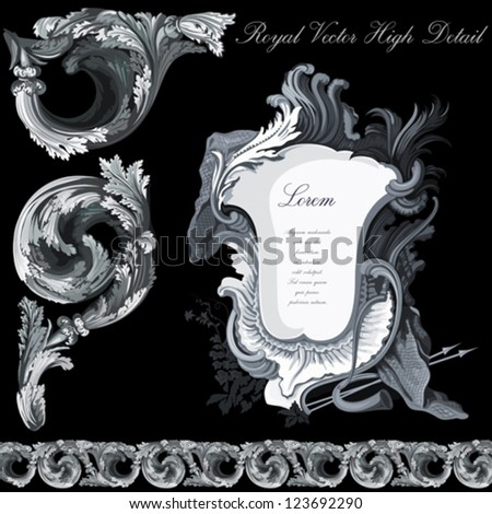 Vintage design elements collection.  Extremely HIGH DETAIL Floral ornament. Luxury silver Vector. - stock vector