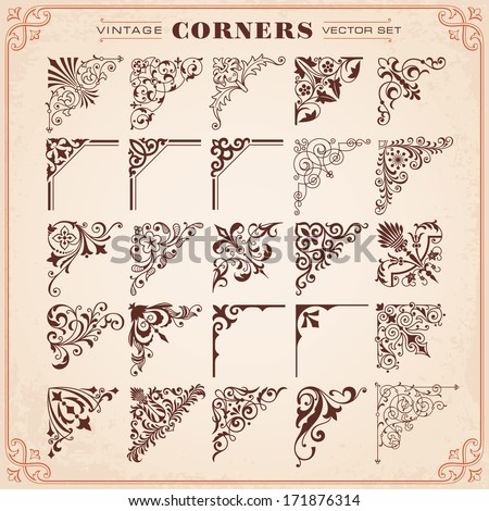 Vintage Design Elements Corners Vector - stock vector