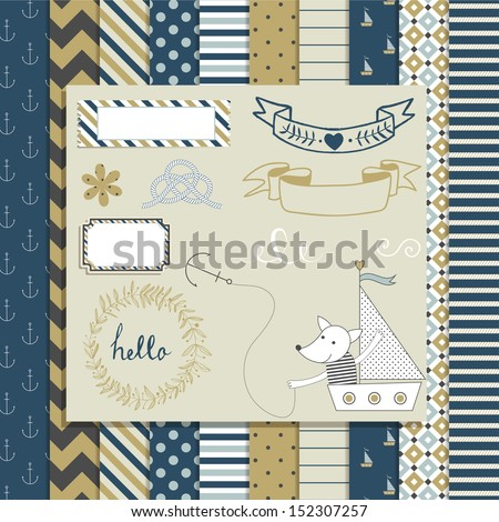 Vintage Design Elements: cute toy fox in boat, frames, ribbon, tag, star, flag and cute seamless backgrounds. For design  or scrap booking.
