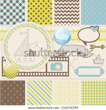 Vintage Design Elements for Scrapbook with seamless pattern and fox on a boat - stock vector