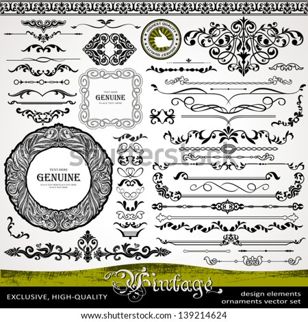 Vintage design elements, ornaments and dividers and elegant page background decorations, exclusive, highest quality, retro style set of ornate floral patterns template - stock vector