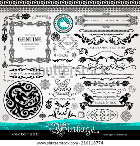 Vintage design elements, ornaments and dividers and elegant page background decorations, exclusive, highest quality, retro style set of ornate floral patterns template and page decorations - stock vector