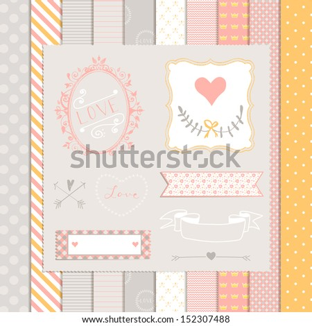 Vintage Design Elements: pink and gray pattern, frames and cute seamless backgrounds. For design  or scrap booking. - stock vector