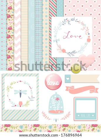 Vintage Design Elements: Rose Pattern, photo frames and cute shabby chic backgrounds. For design or scrap booking. - stock vector