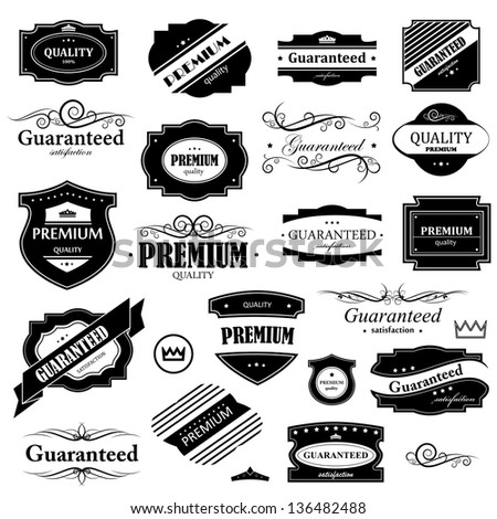 Vintage Design Elements - Set. Labels In Retro And Vintage Style Isolated On White Background. Vector Illustration, Graphic Design Editable For Your Design. Logo Symbols - stock vector