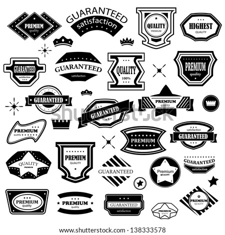 Vintage Design Elements - Set. Labels In Retro And Vintage Style Isolated On White Background. Vector Illustration, Graphic Design Editable For Your Design. Logo Elements  - stock vector