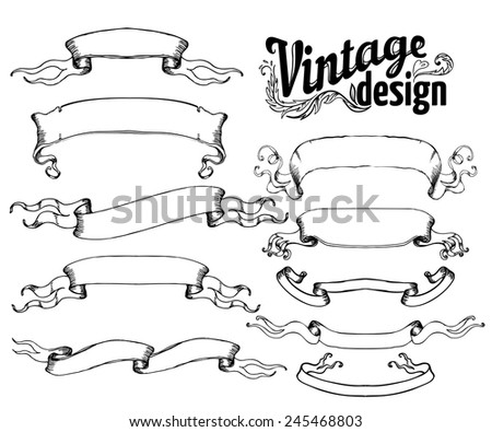 Vintage design elements set: Ribbons. Black outlines isolated on white. Vector illustration.