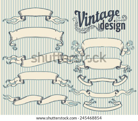 Vintage design elements set. Ribbons. Vector illustration. - stock vector