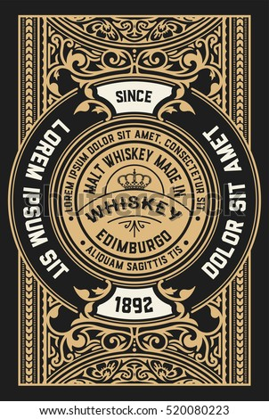 Vintage design for labels. Suitable for whiskey or other products