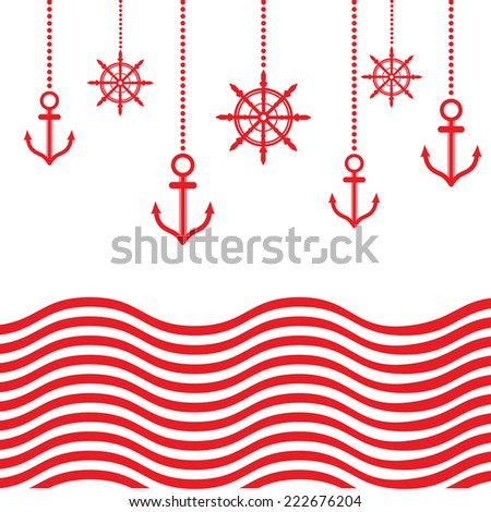 Vintage Design Nautical Template With Anchor - stock vector