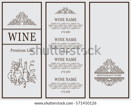 Vintage Design Restaurant Menu Wine List Stock Vector