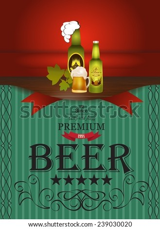 Vintage design of the restaurant beer. - stock vector