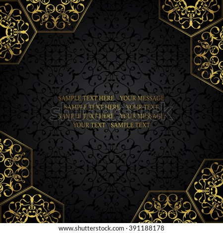 Vintage design template. Lace retro decoration in gold on black seamless background