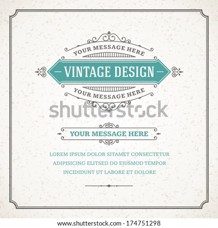 Vintage design template. Retro card and place for text.  - stock vector