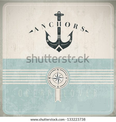 Vintage Design Template With Vintage Anchor Drawing