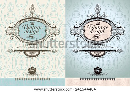 Vintage design. Two variants of the frame. - stock vector