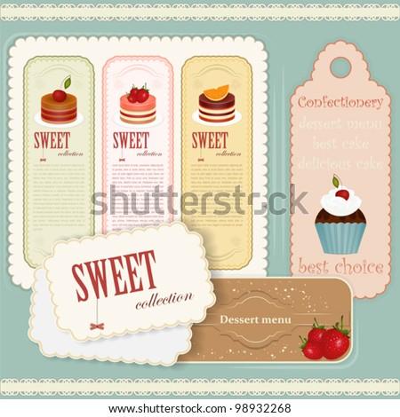 Vintage Dessert menu - set of labels - Vector illustration - stock vector