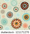 vintage detailed ornament background with colorful circles - stock vector