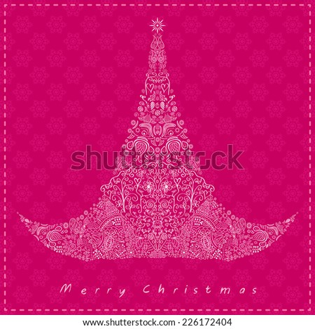Vintage Detailed Swirl Drawn Christmas Tree. Vector New Year Card - stock vector