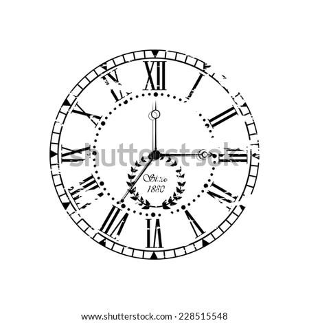 Vintage dial. Vector roman numeral clock. - stock vector