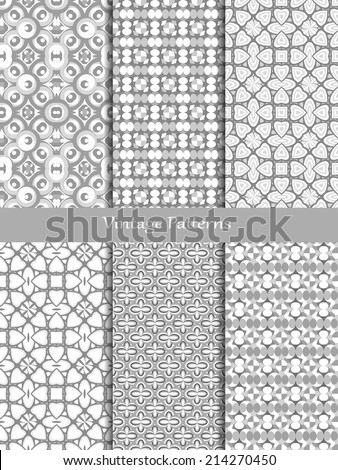 Vintage different vector seamless patterns.