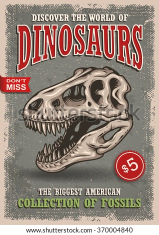 Vintage dinosaurs poster with skull of tyrannosaur with text, badges and grunge texture. Show, exhibition, park. - stock vector