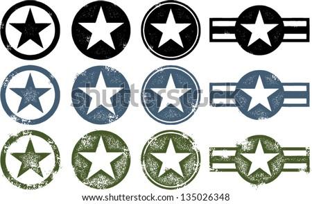 Vintage Distressed Military Stars - stock vector