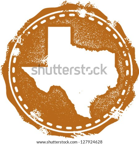 Vintage Distressed Texas State Stamp - stock vector