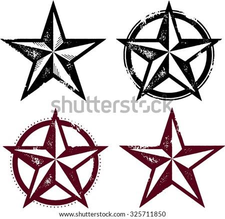 Vintage Distressed Western Stars - stock vector