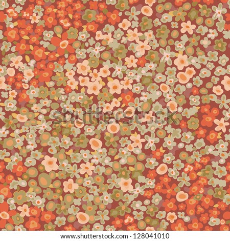 vintage ditsy flowers seamless background - stock vector