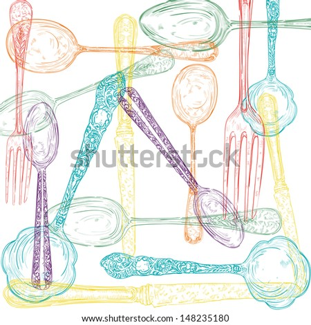 Vintage diversity colors hand drawn cutlery menu background. Vector file layered for easy manipulation and custom coloring. - stock vector